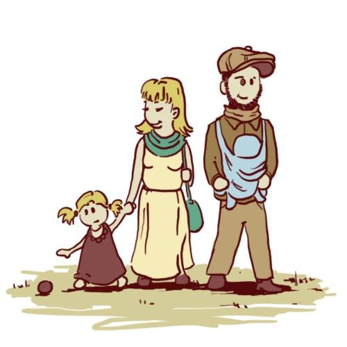 Mutter mit kleinem Mädchen an der Hand, Vater mit Baby in Tragetuch
