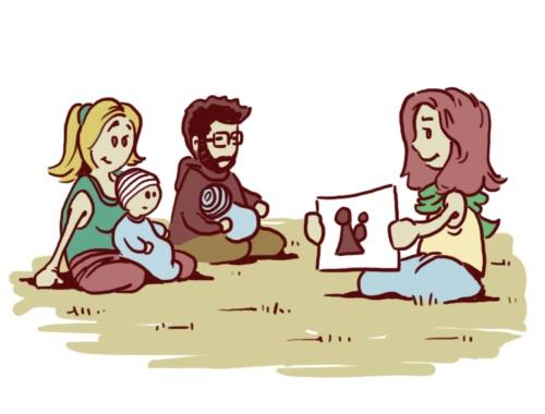 Kursleiterin zeigt Eltern mit Kleinkindern ein Bild